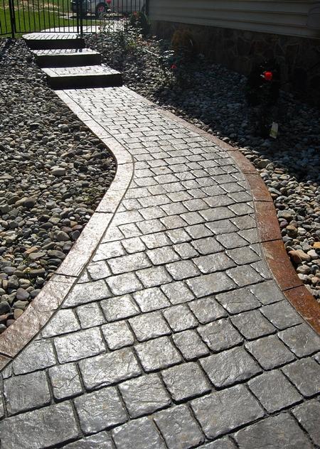 Stamped Stone Pattern Curved Walkway Greystone Masonry