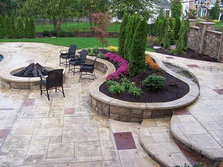 Stamped Stained Concrete Patio