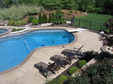 A look at a concrete pool deck.