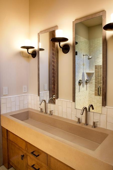 Double Faucet Concrete Bathroom Sink Concrete Decor