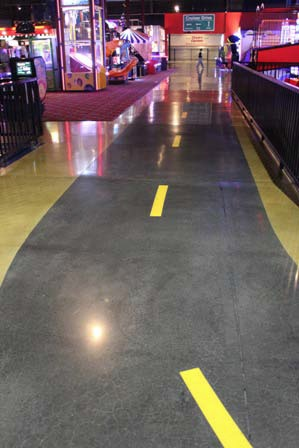 The Craig's Cruisers logo was printed on mesh material and has been permanently coated into the floor.