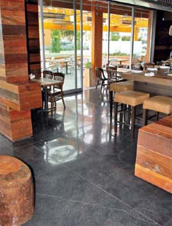 Charcoal gray concrete floor with wood accent walls.