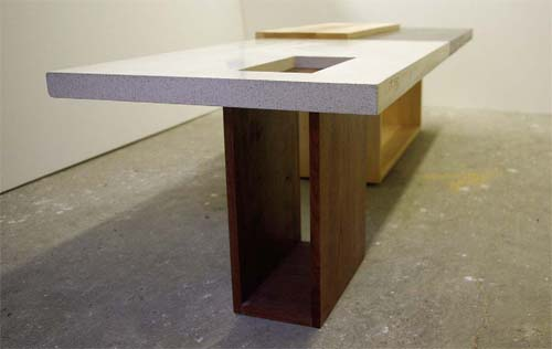 Two tone concrete coffee table, wood base, wood and concrete table top