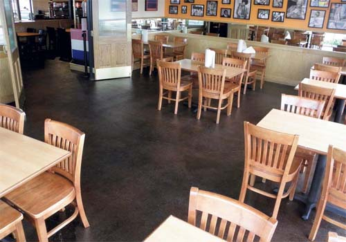 Popular hamburger joint gets new stained concrete floor Flooring modesto