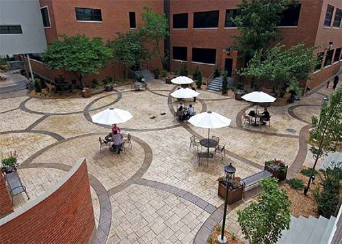 Doehring and his six-man crew transformed an area between the airliner-component company's cafeteria and administration buildings from unattractive sidewalks and grass into a place where employees take breaks, gather for meetings and eat.