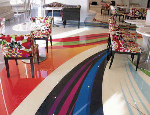 The BoHouse Café's floor decals echo the restaurant's playful, artistic vibe.