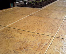 Stained and stamped concrete walkway.