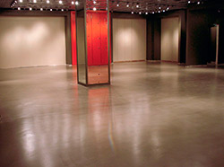 A gray concrete floor that has been created to look clean and modern.