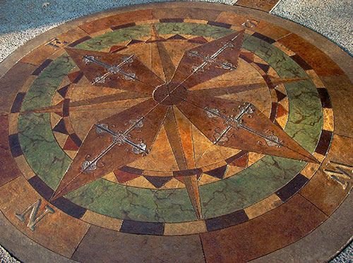 he was able to mimic the appearance of London cobblestone, Arizona flagstone, a European fan-design cobblestone, Southwest slate, fractured granite and timber