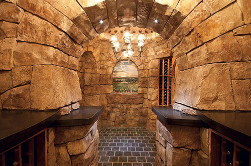 Carved Vertical Concrete Old-World Wine Cellar | Concrete Decor