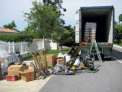 Pile of things to be loaded onto a long-haul truck.