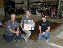 Industry veterans Mike Murray, Chris Sullivan and Chris Becker (left to right) teamed up earlier this year to teach decorative concrete applications using case studies and hands-on training. Tamryn Doolan of Surface Gel Tek helped too.