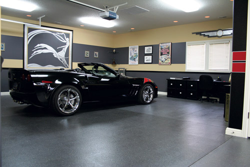 Knowing Fischer would be the best man to tackle their garage, which houses Eikenberry's black 2010 Corvette, the couple sat down with him for consultation sessions in 2010. Fischer helped them design a new layout for the large, horseshoe-shaped garage, designating spots for an office, bar, lounge area, car detailing area and car wash area.
