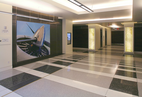 Besides the SwissPearl Reflex panels, the exterior surfaces of Parcel B's office buildings feature metal panels from CMF Inc. that were inspired by the exterior texture of the Spruce Goose aircraft hangar.