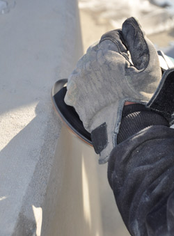 We also had to be safety-conscious, as we always are, regarding the grinding dust and the potential cuts and scratches that could occur from small pieces of concrete grindings.