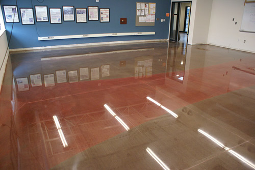 Clark Branum and Frank Benish polished this training-classroom floor at the Western Washington Masonry Trades training center in Seattle. The floor demonstrates high gloss and high clarity. The slip coefficient is 0.74. Photo courtesy of Frank Benish