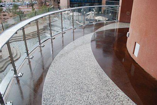 Glittering aggregate spiked ramps at casino in Arizona