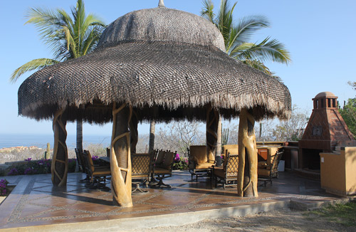 Palapa Roof Over Concrete Kitchen In Los Cabos Mexico.