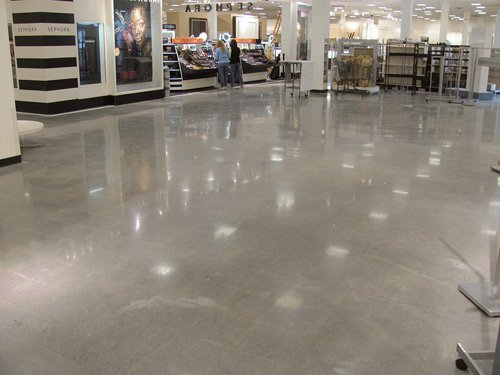 The first JCPenney store to be renovated using the extensive polishing approach was an older store in West Lebanon, N.H. The floors required a lot of patching, which added a worn character to the job's retro look. Photos courtesy of S&S Concrete Floors Inc.