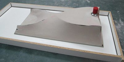 Fabric forming a concrete sink.
