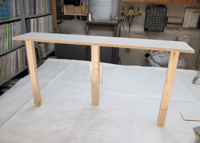 As we were making a shelf, our armature only needed to be a flat platform raised high enough for us to drape the fabric over and achieve our desired height.
