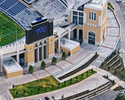 The architectural team, consisting of NJB and the stadium redevelopment's lead architectural firm, HKS, wanted to depict an accurate representation of downtown Fort Worth in 1930, when the original Amon G. Carter stadium was finished