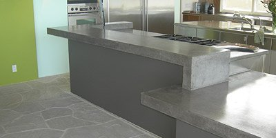 Modern gray concrete countertop.