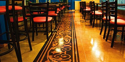 Stained and Polished Concrete in Restaurant