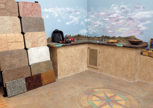 Table Mountain Creative Concrete, of Golden Colo., has installed decorative concrete throughout its office and warehouse. The company's in-house showroom features sample boards and a replica of an outdoor kitchen.  Photos courtesy of Table Mountain Creative Concrete