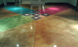The Custom Concrete Coatings and Designs gallery in Florida includes examples of various flooring techniques, including polished, as seen here. Different colors and grit levels were used to highlight the versatility of polished applications.  Photo courtesy of Custom Concrete Coatings and Designs