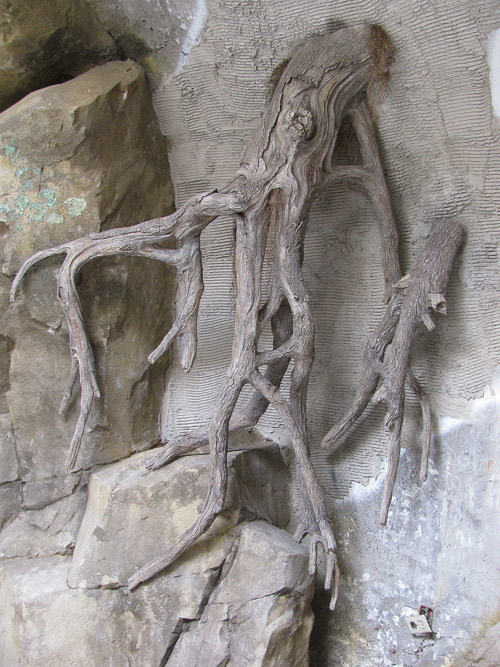 Concrete carved tree roots look like the real thing.