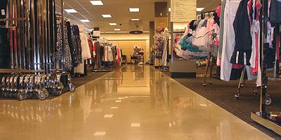 The Nordstrom Rack clothing store in Aventura, Fla., contains 7,000 square feet of polished overlay, including this aisle. The project is the work of Creative Concrete Services, Lakeland, Fla. Photos courtesy of CTS Cement Manufacturing