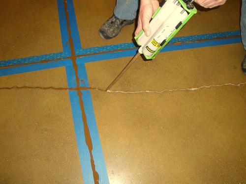 A repair in progress. After cracks are cleaned, they are slightly overfilled using a polyurea joint filler. Excess is removed. Notice how well the joint filler matches the concrete floor. Photos courtesy of Niagara Machine