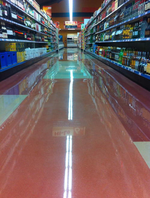Concrete Genius, a Trinidad contractor, completed 16,000 square feet of polished overlay work at this Hi-Lo Food Store in Maraval, Trinidad.
