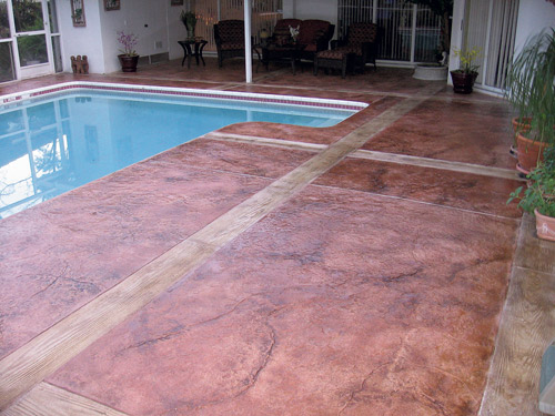 fixing slippery stamped concrete near pools | concrete decor