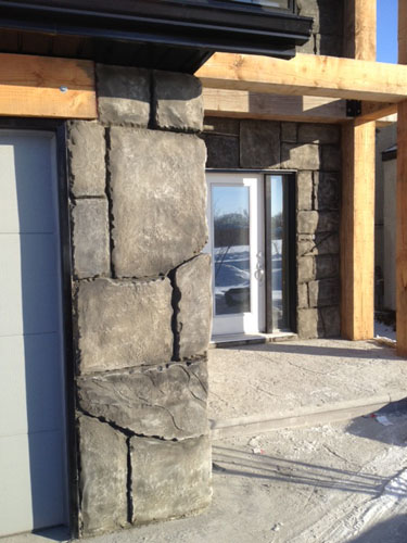 A look at the lumber and how it enhances the concrete carvings.