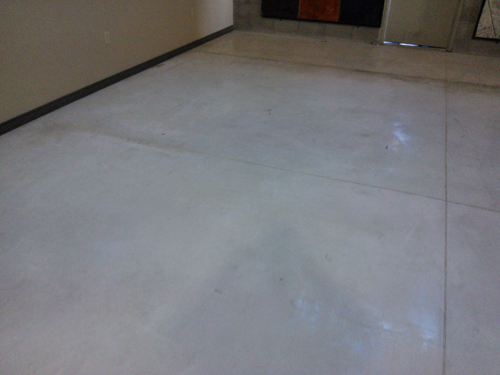 A look at the floor after acid gel was used to clean the spilled stain.
