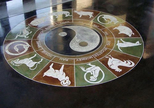 A look at the zodiac calendar that has been engraved and stained onto this concrete floor.