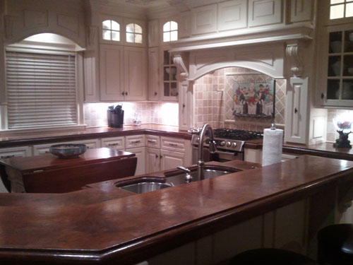 This countertop took third place in the contest and depicts reddish countertops throughout the whole kitchen.