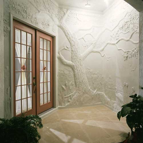 Concrete Wall Art : Classical relief sculpture made from overlays and plaster