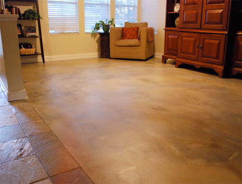 Stained concrete floor in a living room