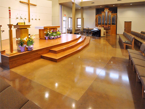The main focus of the project was the recently installed slab in the sanctuary. The team at Specialized Construction started with a 50-grit resin polish - but they had to do a little repair work before they could go further