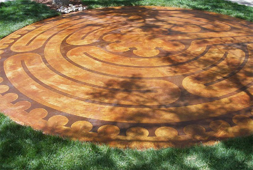 Goodman stained within the lines with Dark Walnut Chemstain to color the walking path in the labyrinth.