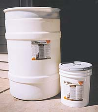 Two sizes of densifier buckets, a 55 gallon drum or 5 gallon pail. Keep your concrete colors truer by densifying your concrete slab.