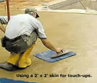 Use smaller Concrete Skins to touch up areas on the curing slab.