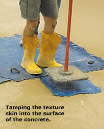 Tamping Concrete Skins while still on the concrete helps bolster the look of the skin.