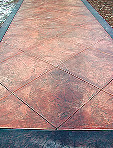 Burgundy Band In Stamped Concrete