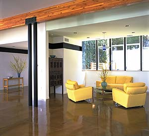 Richard Smith Custom Concrete finished this living room by polishing the concrete below the yellow leather furniture.