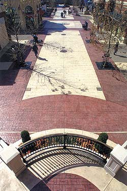 Large walking mall courtyard stamped concrete finished with color from Increte Systems