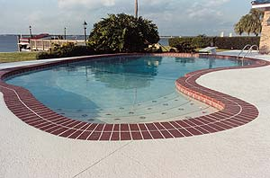 Taking the right steps for a successful job proper surface preparation is critical to the success of the job.Resurfacing of a pool deck can give you the appearance of a red brick pool edge.